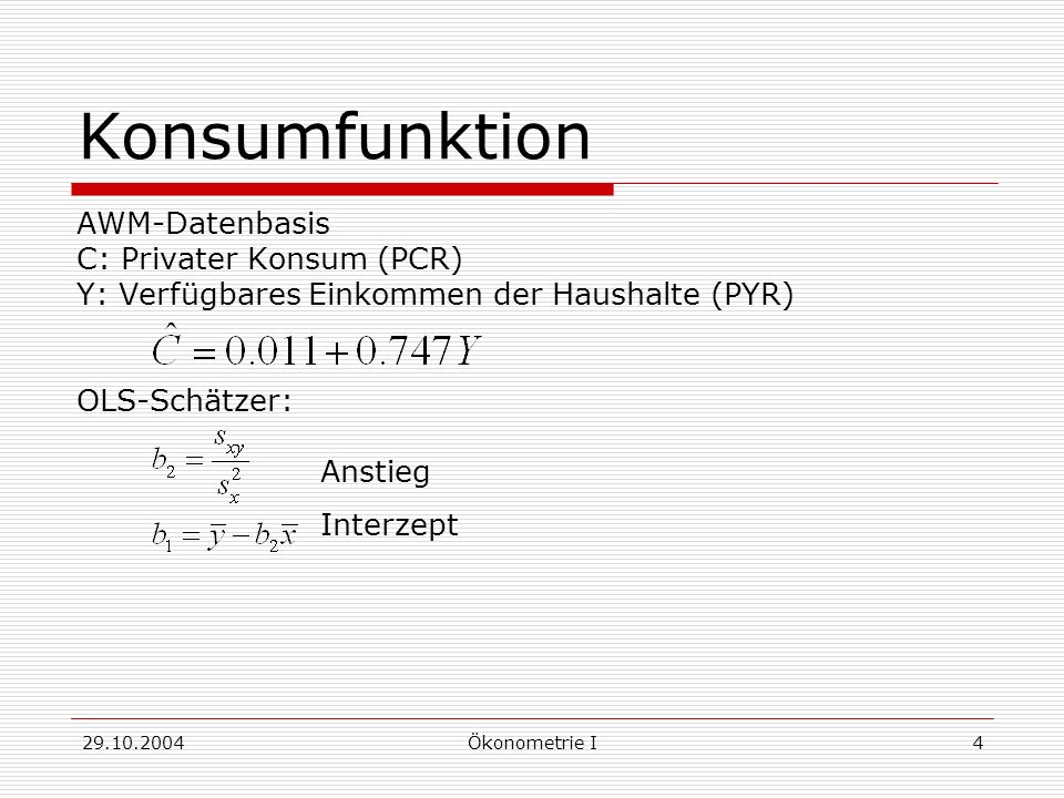Konsumfunktion AWM-Datenbasis C: Privater Konsum (PCR)