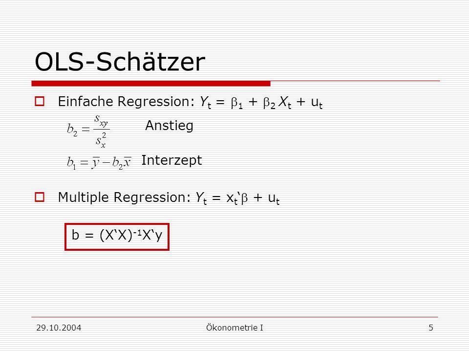 OLS-Schätzer Anstieg Einfache Regression: Yt = b1 + b2 Xt + ut