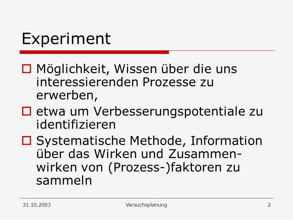 Experiment Möglichkeit, Wissen über die uns interessierenden Prozesse zu erwerben, etwa um Verbesserungspotentiale zu identifizieren.