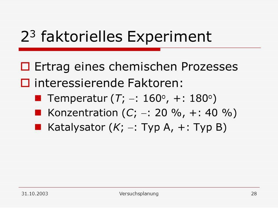 23 faktorielles Experiment
