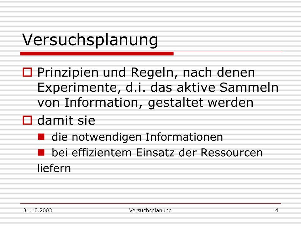 Versuchsplanung Prinzipien und Regeln, nach denen Experimente, d.i. das aktive Sammeln von Information, gestaltet werden.