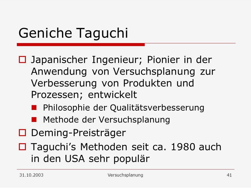 Geniche Taguchi Japanischer Ingenieur; Pionier in der Anwendung von Versuchsplanung zur Verbesserung von Produkten und Prozessen; entwickelt.