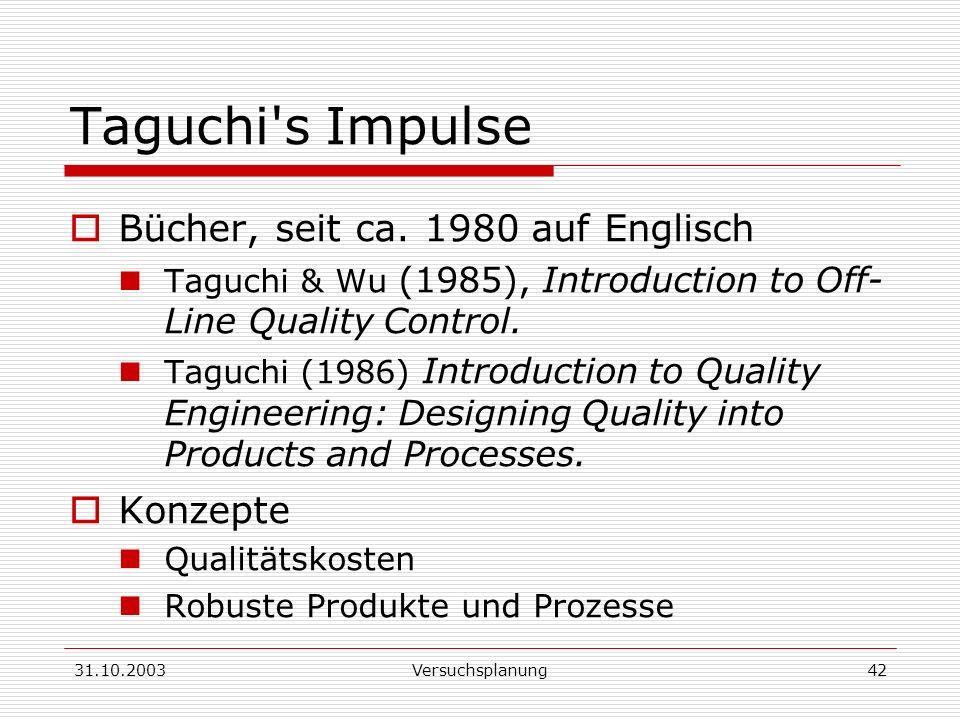 Taguchi s Impulse Bücher, seit ca. 1980 auf Englisch Konzepte