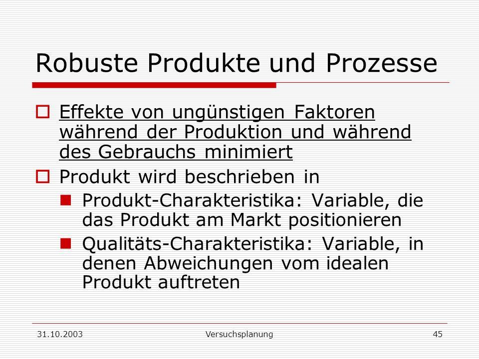 Robuste Produkte und Prozesse