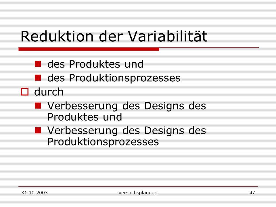 Reduktion der Variabilität
