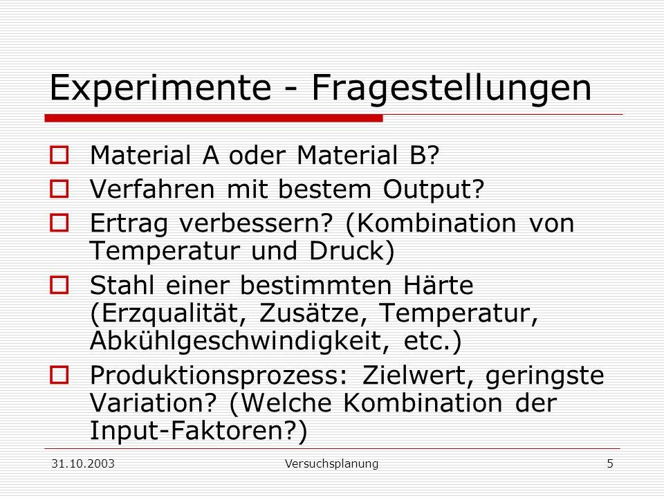 Experimente - Fragestellungen
