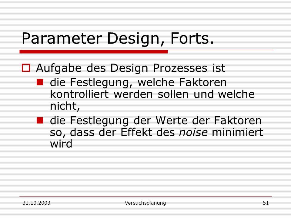 Parameter Design, Forts.