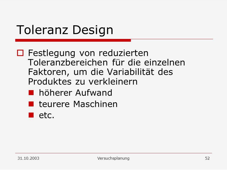 Toleranz Design Festlegung von reduzierten Toleranzbereichen für die einzelnen Faktoren, um die Variabilität des Produktes zu verkleinern.