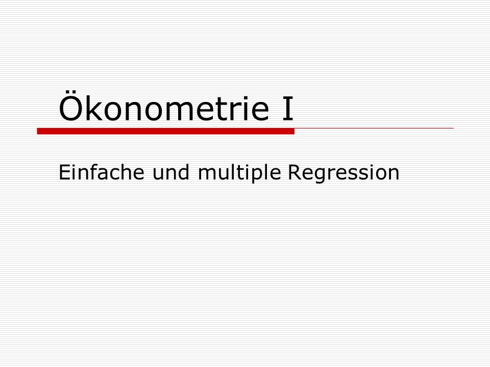 Einfache und multiple Regression