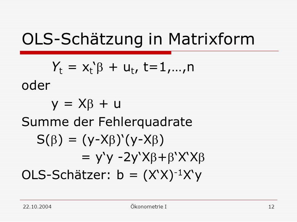 OLS-Schätzung in Matrixform