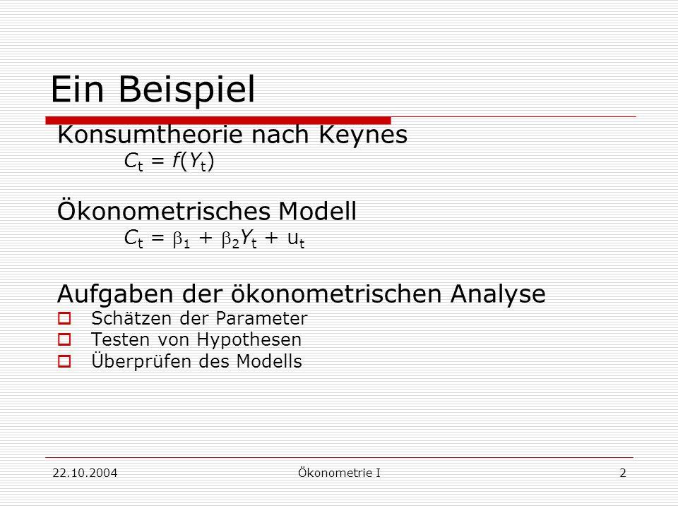 Ein Beispiel Konsumtheorie nach Keynes Ökonometrisches Modell