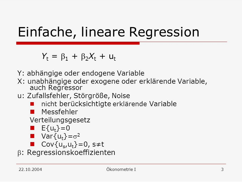 Einfache, lineare Regression