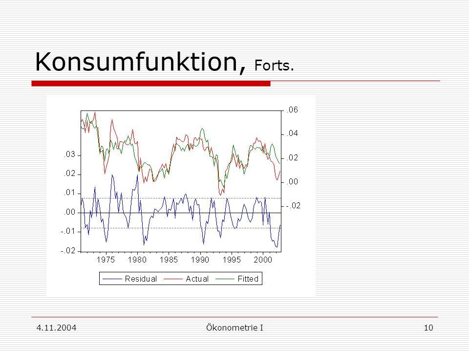 Konsumfunktion, Forts. 4.11.2004 Ökonometrie I