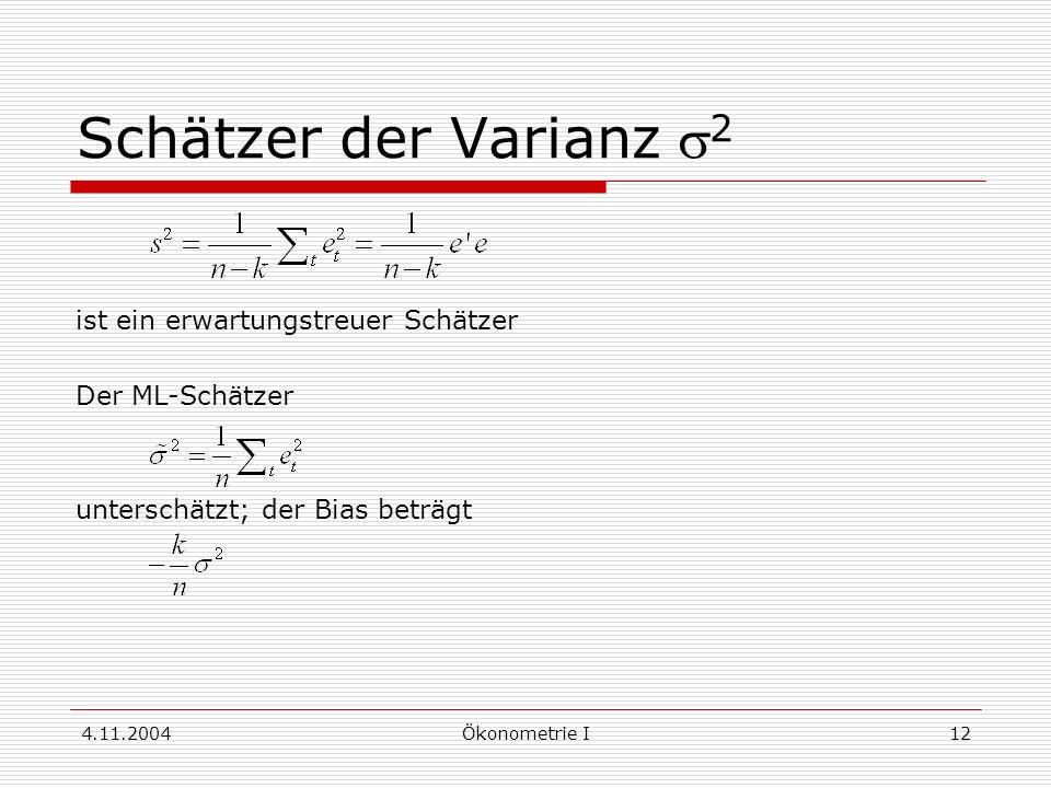 Schätzer der Varianz s2 ist ein erwartungstreuer Schätzer