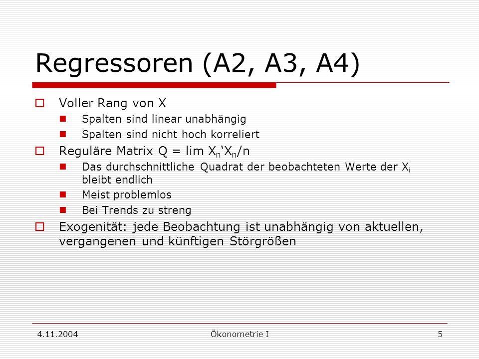 Regressoren (A2, A3, A4) Voller Rang von X