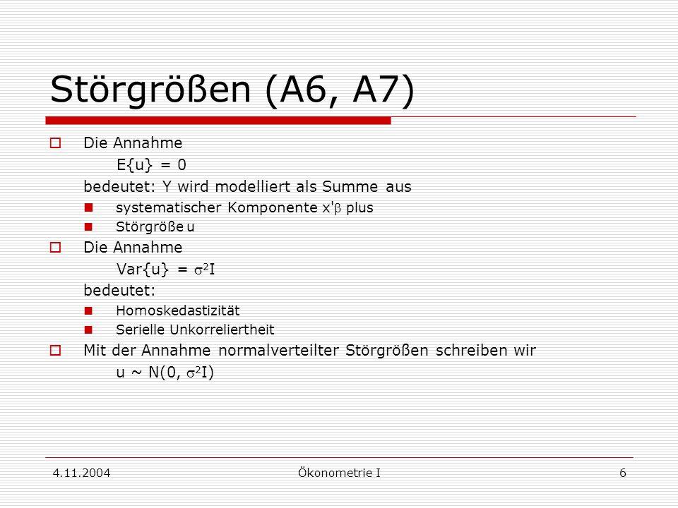 Störgrößen (A6, A7) Die Annahme E{u} = 0