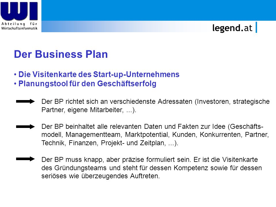 Der Business Plan legend.at Die Visitenkarte des Start-up-Unternehmens