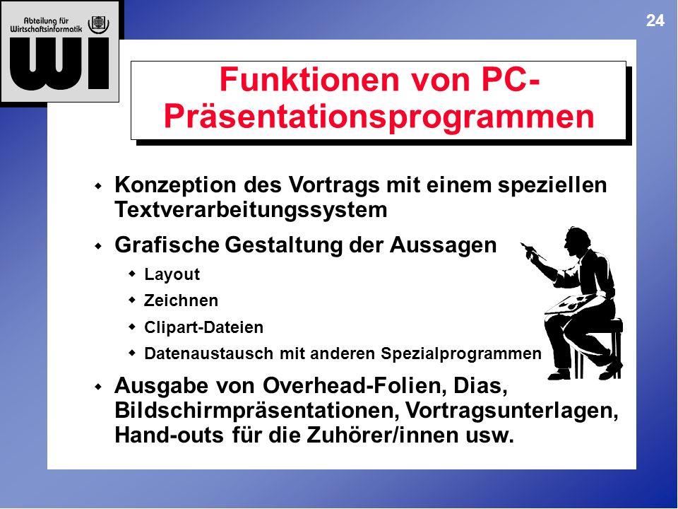 Funktionen von PC-Präsentationsprogrammen