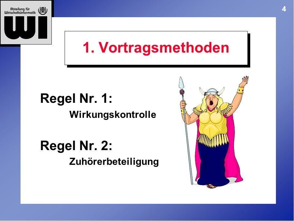 1. Vortragsmethoden Regel Nr. 1: Regel Nr. 2: Wirkungskontrolle
