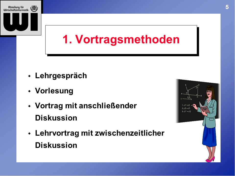 1. Vortragsmethoden Lehrgespräch Vorlesung