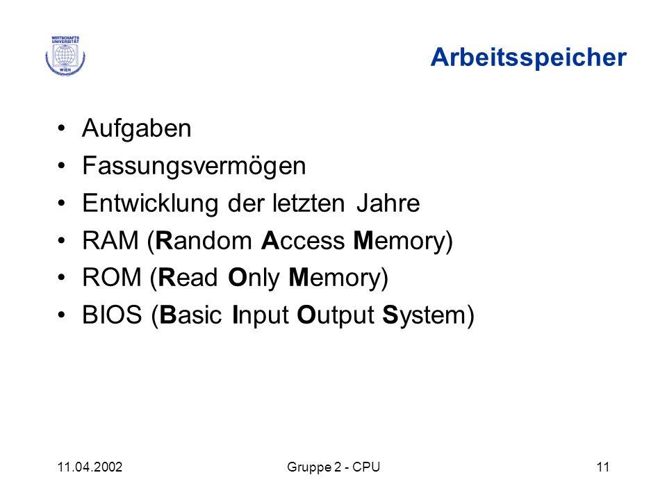 Entwicklung der letzten Jahre RAM (Random Access Memory)