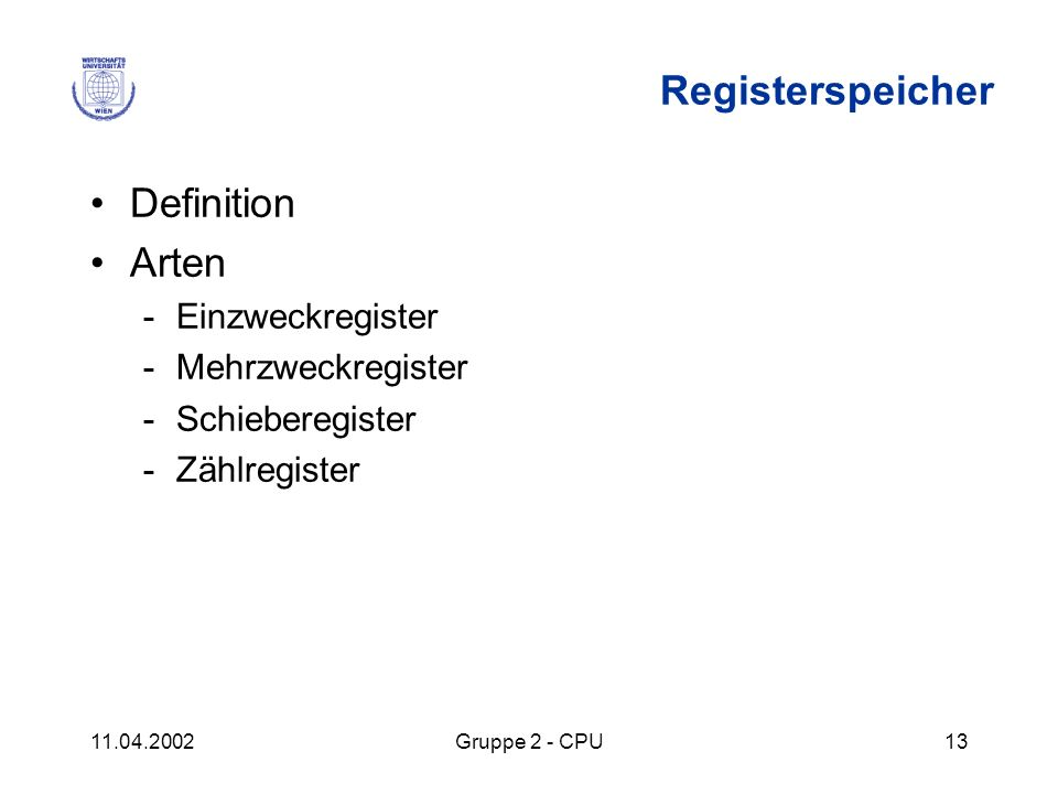 Registerspeicher Definition Arten Einzweckregister Mehrzweckregister