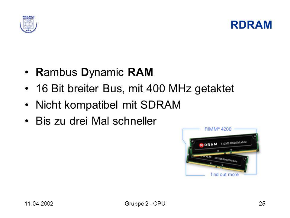 16 Bit breiter Bus, mit 400 MHz getaktet Nicht kompatibel mit SDRAM