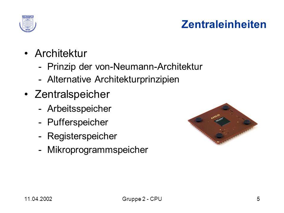Zentraleinheiten Architektur Zentralspeicher