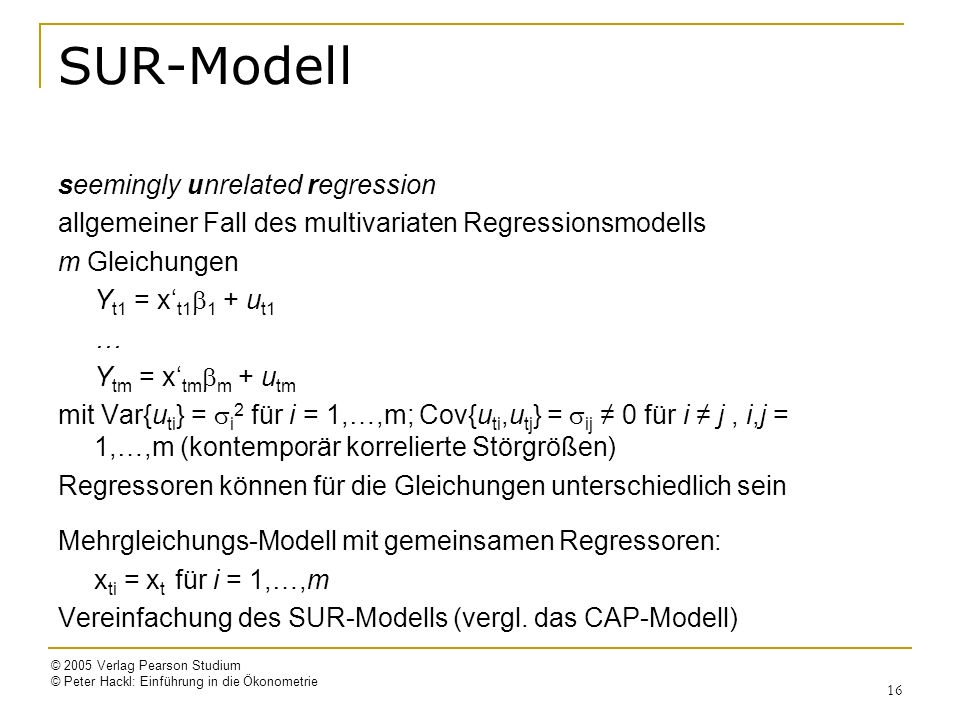SUR-Modell seemingly unrelated regression