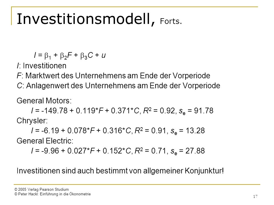 Investitionsmodell, Forts.
