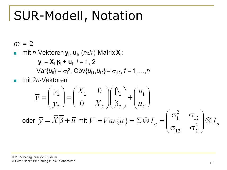 SUR-Modell, Notation m = 2 mit n-Vektoren yi, ui, (nxki)-Matrix Xi: