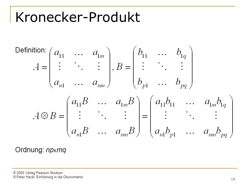 Kronecker-Produkt Definition: Ordnung: npxmq