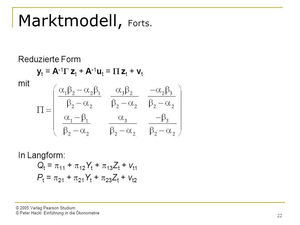 Marktmodell, Forts. Reduzierte Form yt = A-1G zt + A-1ut = P zt + vt