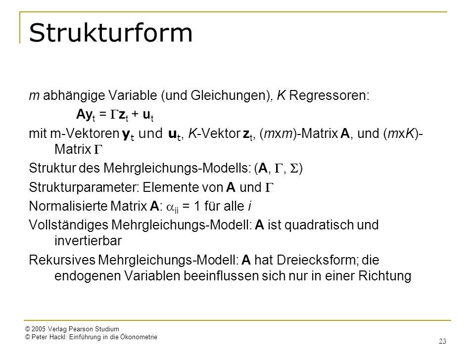 Strukturform m abhängige Variable (und Gleichungen), K Regressoren: