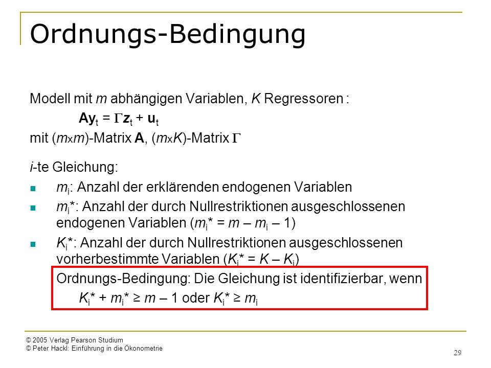Ordnungs-Bedingung Modell mit m abhängigen Variablen, K Regressoren :