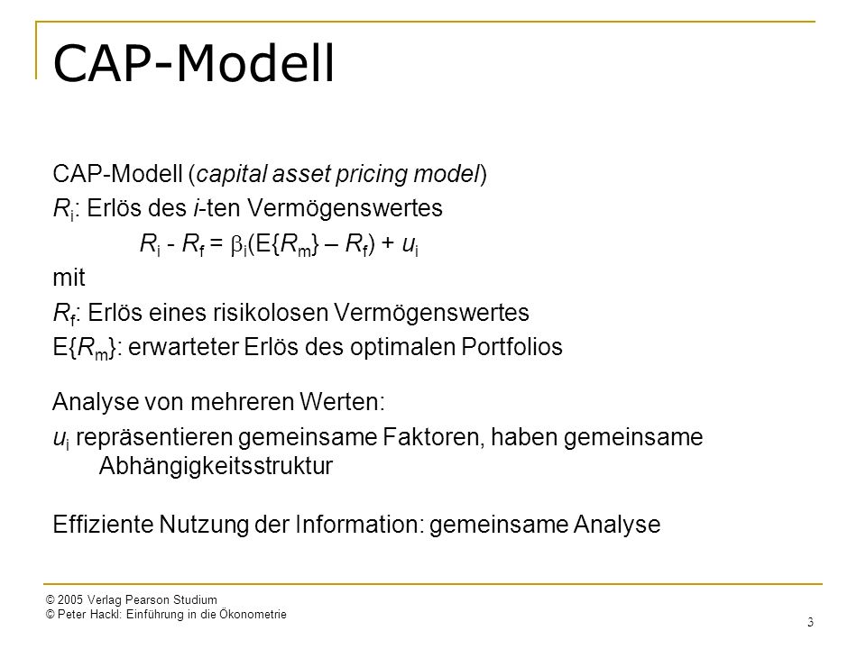 CAP-Modell CAP-Modell (capital asset pricing model)