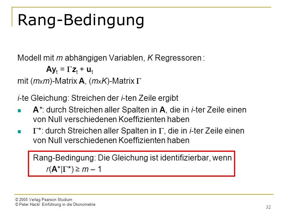 Rang-Bedingung Modell mit m abhängigen Variablen, K Regressoren :