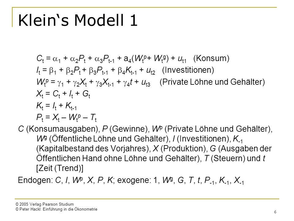 Klein's Modell 1 Ct = a1 + a2Pt + a3Pt-1 + a4(Wtp+ Wtg) + ut1 (Konsum)
