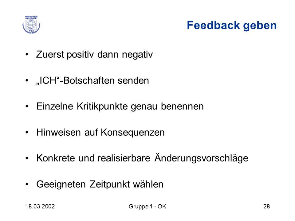 """Feedback geben Zuerst positiv dann negativ """"ICH -Botschaften senden"""