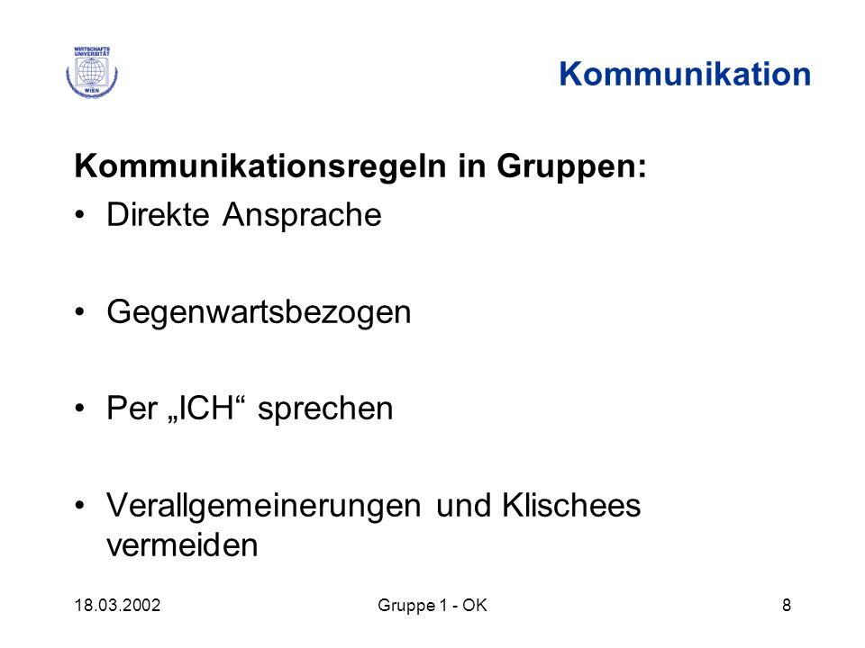 Kommunikationsregeln in Gruppen: Direkte Ansprache Gegenwartsbezogen