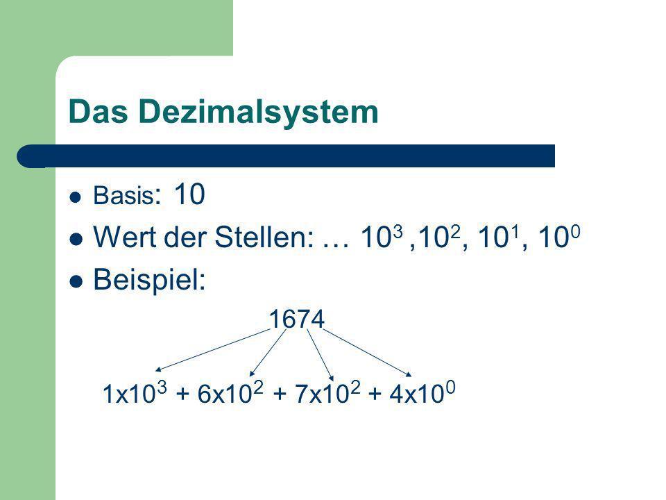 Das Dezimalsystem Wert der Stellen: … 103 ,102, 101, 100 Beispiel: