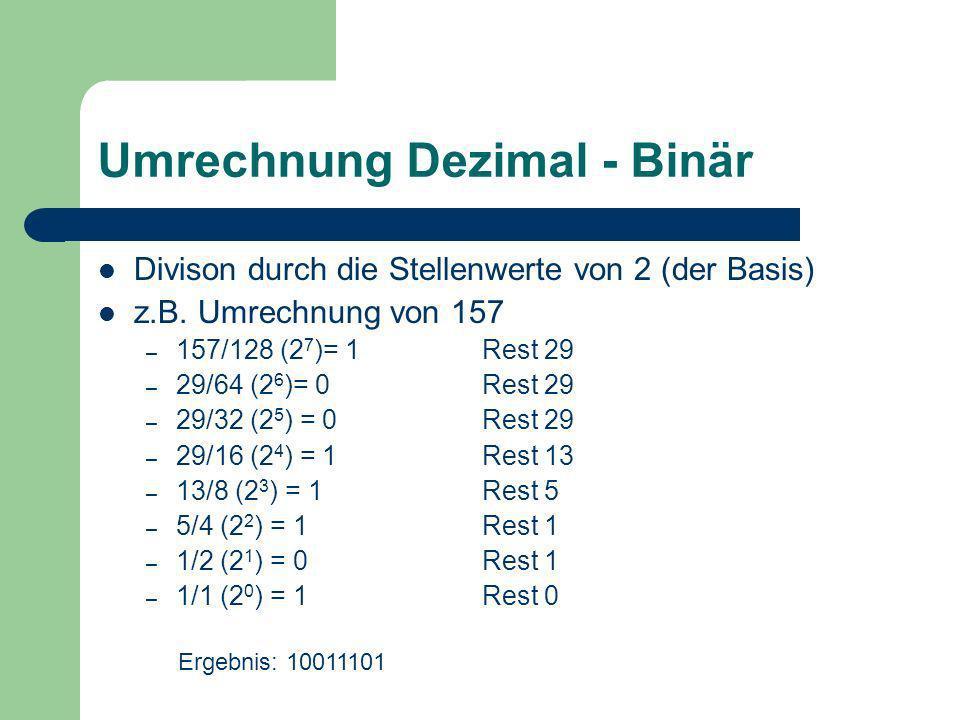 Umrechnung Dezimal - Binär