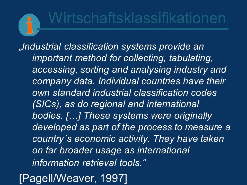 Wirtschaftsklassifikationen