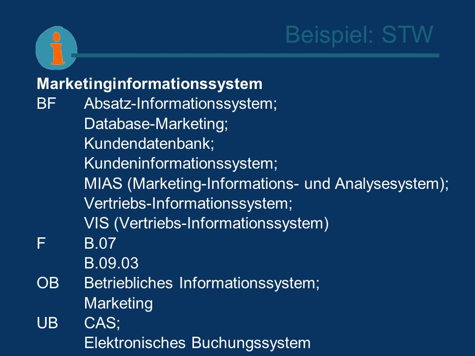 Beispiel: STW Marketinginformationssystem