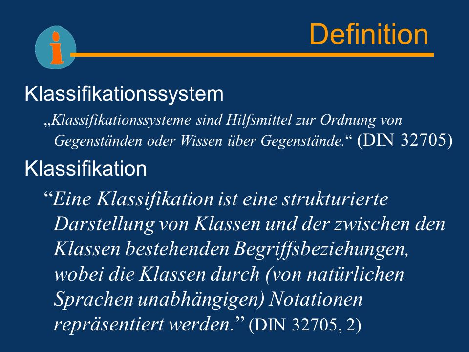 Definition Klassifikationssystem Klassifikation