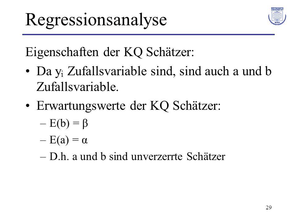Regressionsanalyse Eigenschaften der KQ Schätzer: