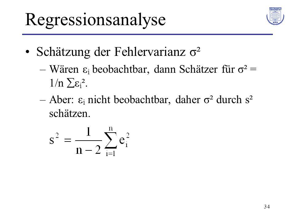 Regressionsanalyse Schätzung der Fehlervarianz σ²