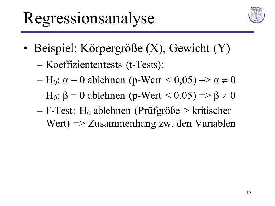 Regressionsanalyse Beispiel: Körpergröße (X), Gewicht (Y)