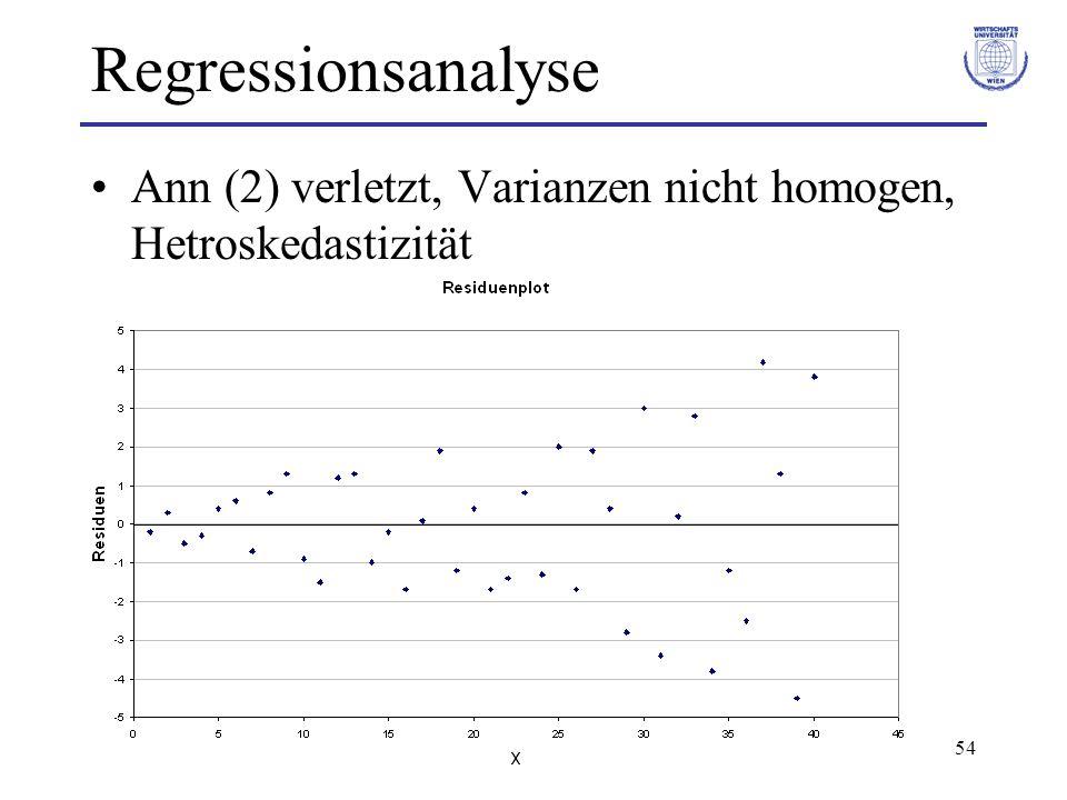 Regressionsanalyse Ann (2) verletzt, Varianzen nicht homogen, Hetroskedastizität