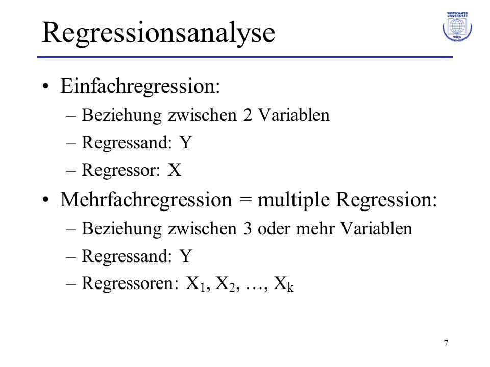 Regressionsanalyse Einfachregression: